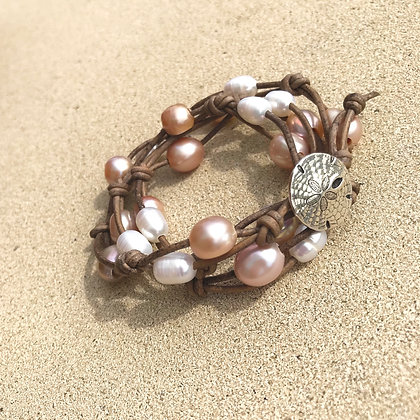 Leather & Pearl Wrap Bracelet/Necklace  2136