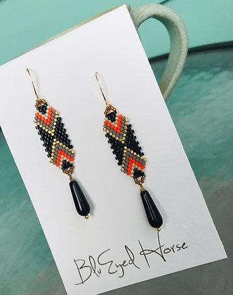 Black Beaded Drops