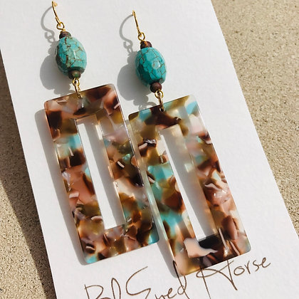 Faceted Turquoise Rectangles  2135