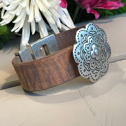 Natural Leather & Bali Flower