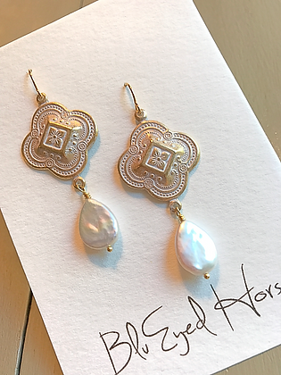 Gold & White Freshwater Pearls