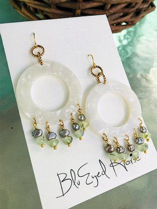 Prehnite Gemstone, Peacock Pearls & Pearl Acrylic Chandeliers