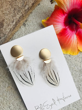 Feather and Gold Post Earrings