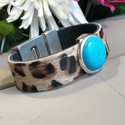 Stitched Leopard & Turquoise