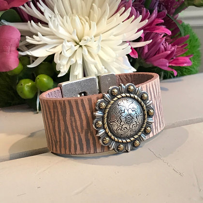 Vintage Leather & Silver Concho