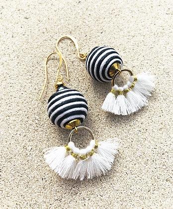 Black & White Tassel Earrings