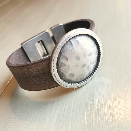Natural Leather & Hammered Silver 121305
