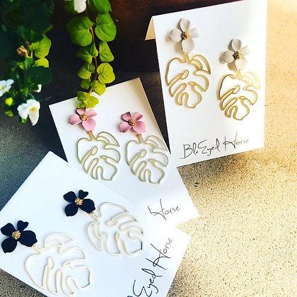 Flower and Open Monstera Leaf Earrings