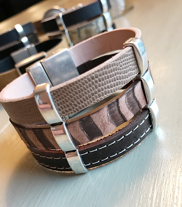 Mixed Earthy Leather Cuff. 120201
