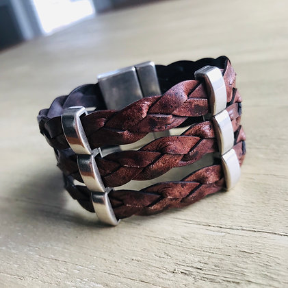 Three strand Braided Leather Cuff