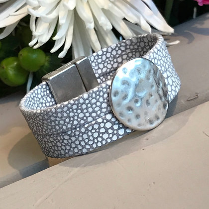 Gray, White & Hammered Silver