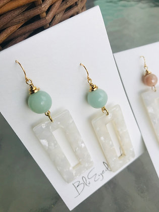 Amazonite and Pearl Acrylic Rectangles