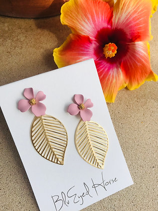 Flower and Gold Leaf Earrings