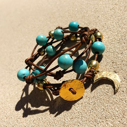 Turquoise Leather Wrap  2141