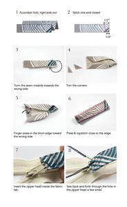 Short Fabric Tab Zipper Pull - Indigobird Design