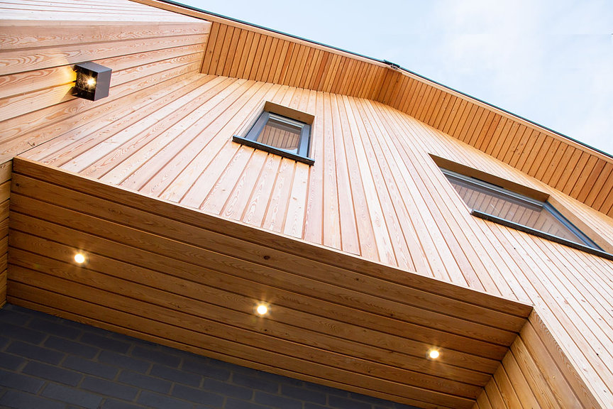 larch cladding new build house
