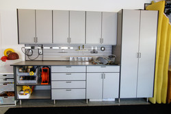 Dream work bench with cabinetry
