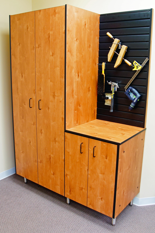 Rustic Alder Garage Cabinets, slatwa