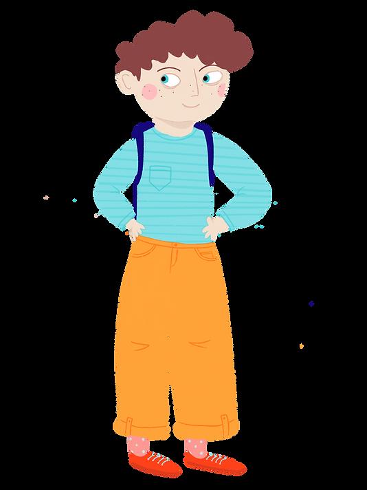 education, high school, coral reef, orange, pants, blue