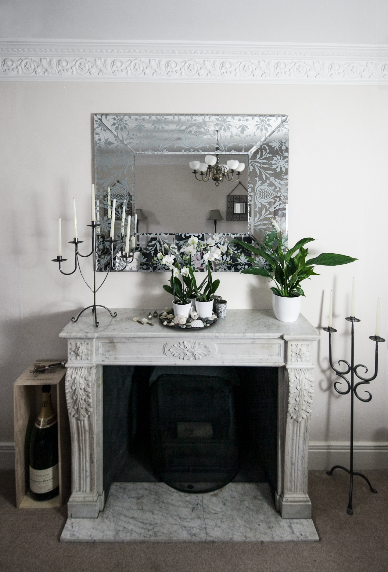 French fireplace with white accents