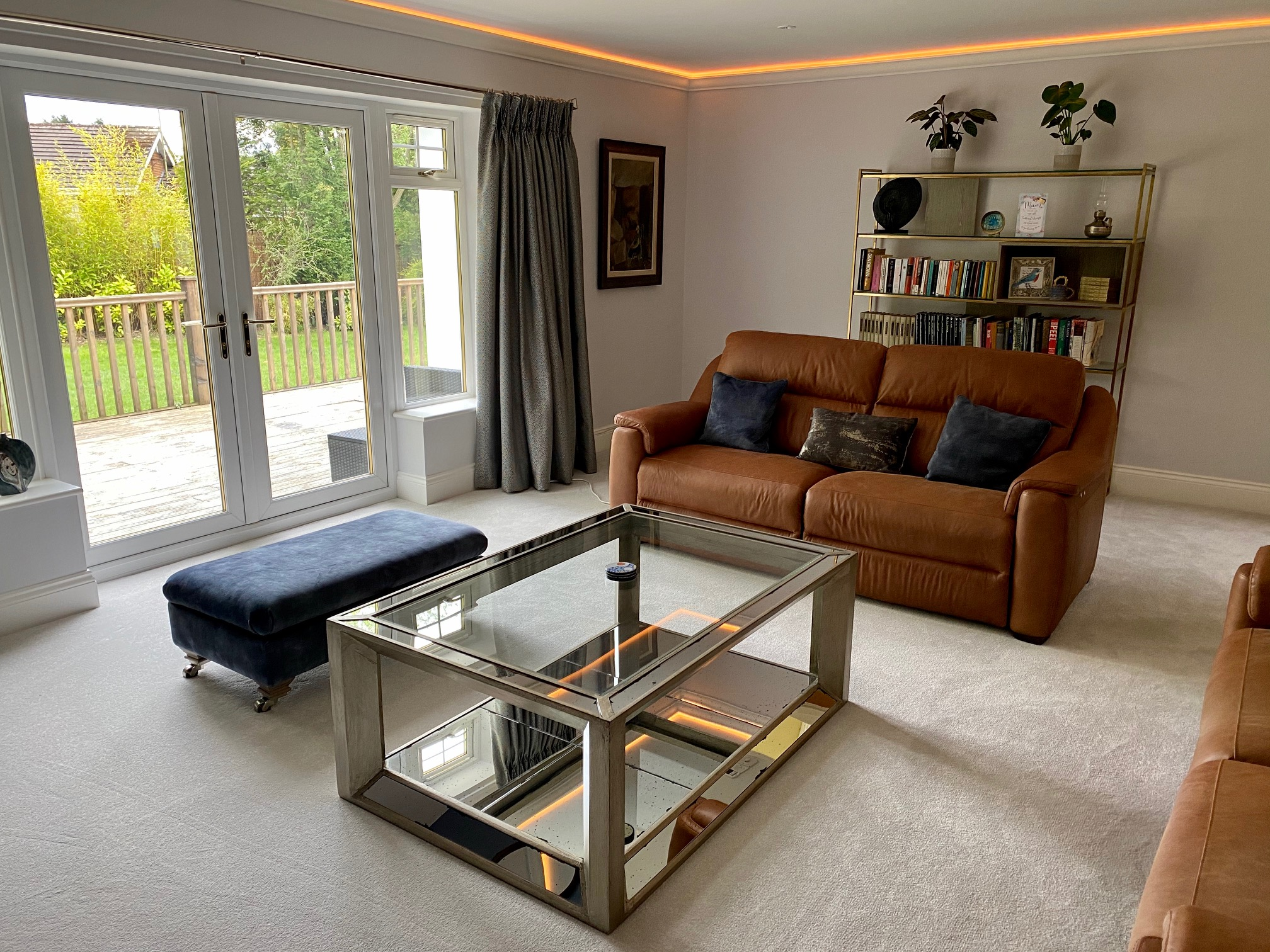 A stunning coffee table and storage for books