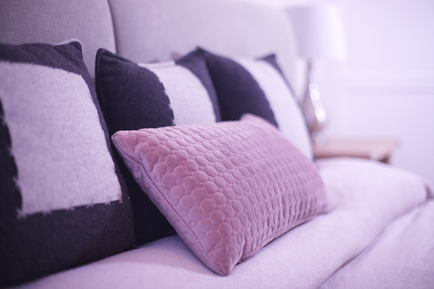 Cushions echo the seat material