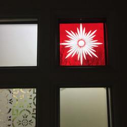 Stainglass detail to front door