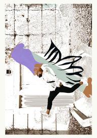 Collage numérique Sandrine Stahl A la renverse