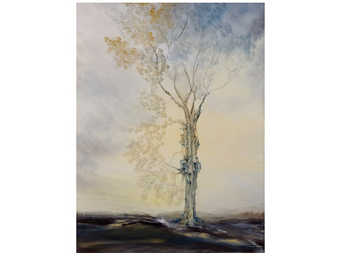 """Tree in Gold and Blue""  Original Oil Painting"