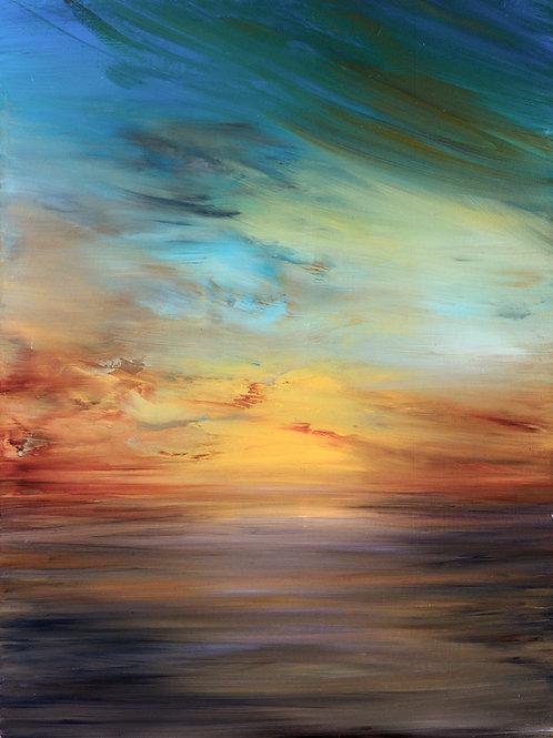 """Ocean Sunset""  Original Oil Painting"
