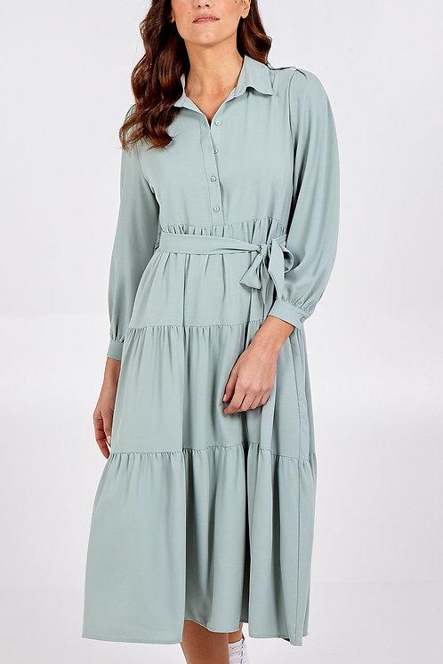 Ella Bellini Long Tiered Collar Dress With Belt