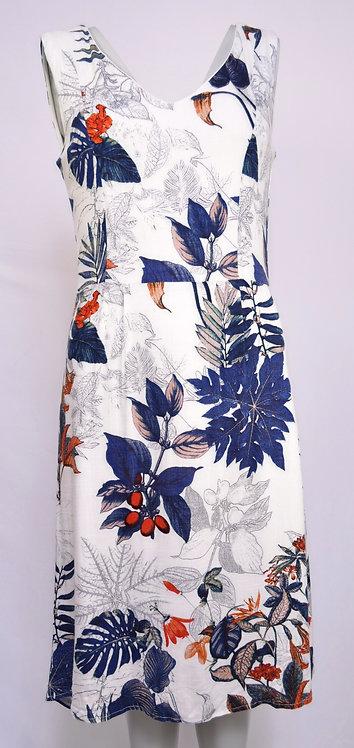 Smashed Lemon Cotton and Linen Dress with leaf design