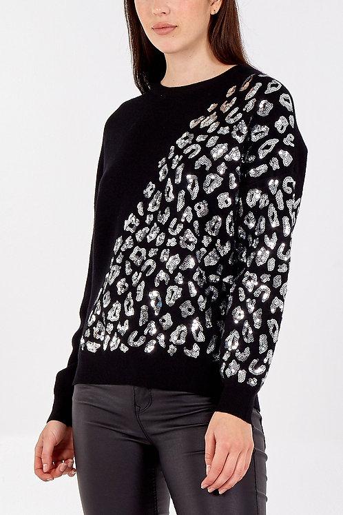 Ella Bellini Sequinned animal print jumper