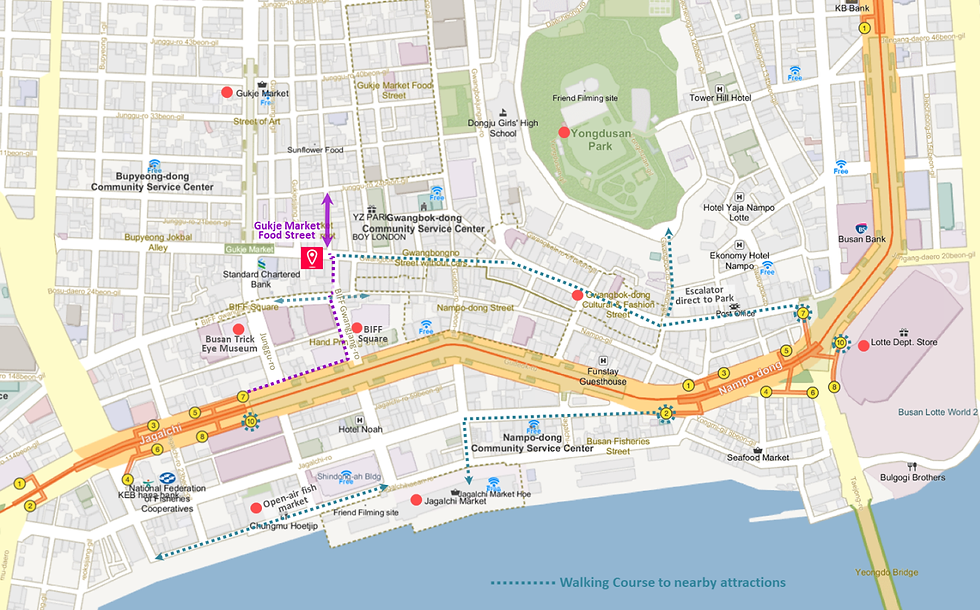 Getting to Gukje Market Food Street & Location Map of Top Places around | Busan, South Korea