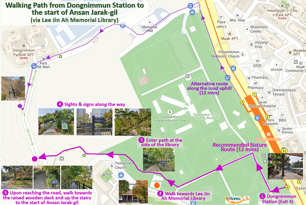 Walking Path from Dongnimmun Station to start of Ansan Jarak-gil Trail | KoreaToDo