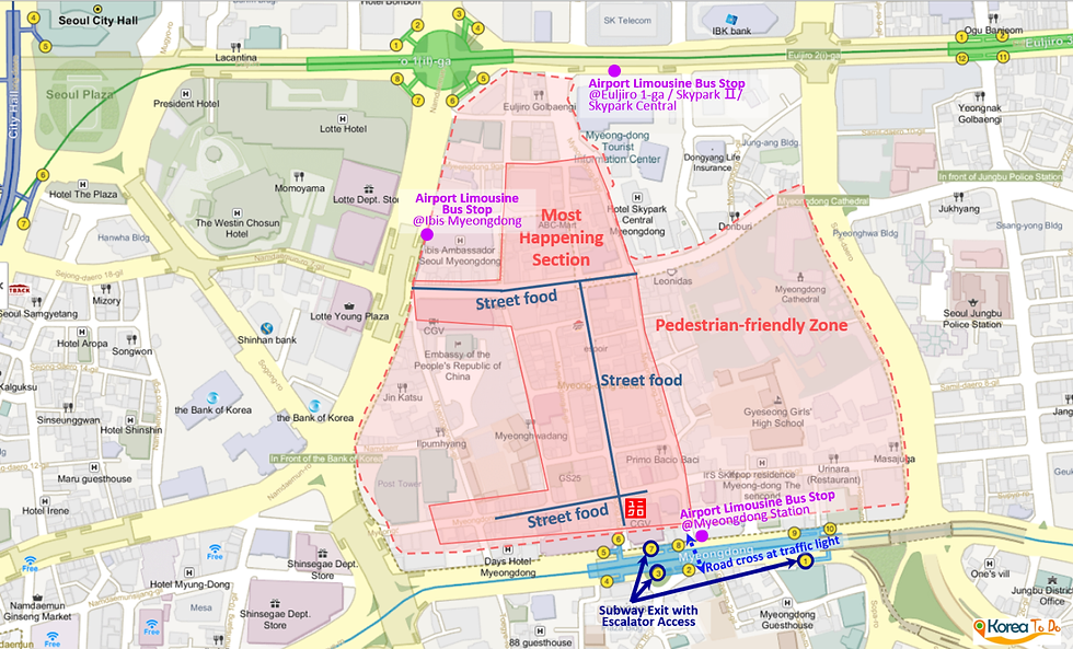 Map of Myeongdong Shopping Street, Airport Bus Stops, Subway Exits, Food Streets | KoreaToDo