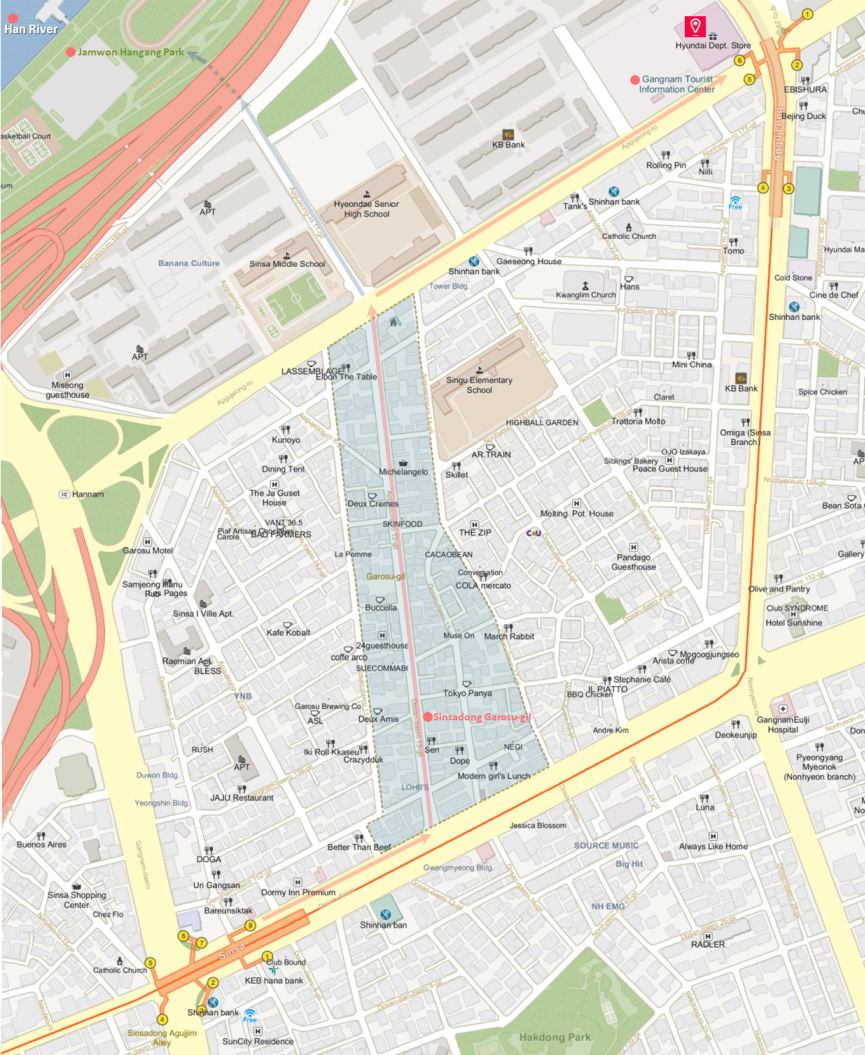 Getting to Hyundai Department Store (Apgujeong Main Store) & Location Map of Top Places | Seoul