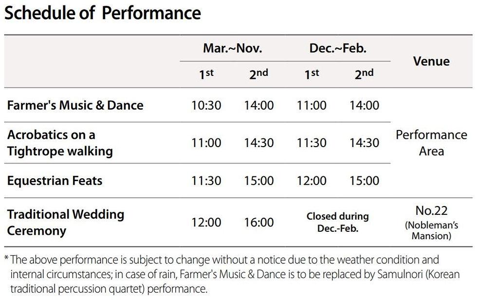 Performance Schedule of Korean Folk Village | South Korea