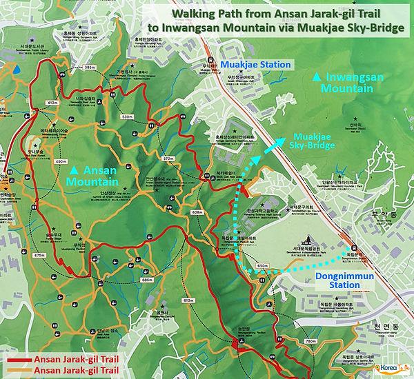Inwangsan Mountain - Walking Path from Ansan Jarak-gil Trail to Muakjae Sky-Bridge | KoreaToDo