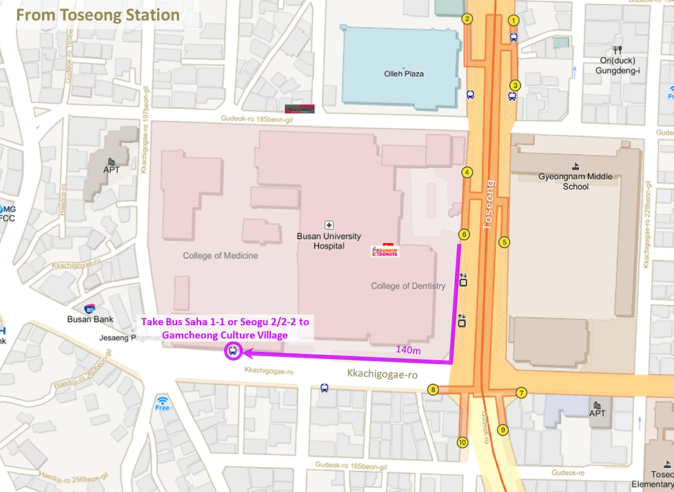 Getting to Avant Garde Cafe at Gamcheon Culture Village by Bus from Toseng Station & Location Map | Busan, South Korea