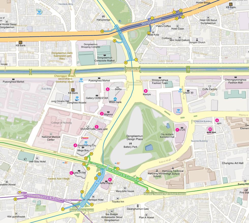 Map of Dongdaemun 10Best Shopping Malls | Seoul, South Korea