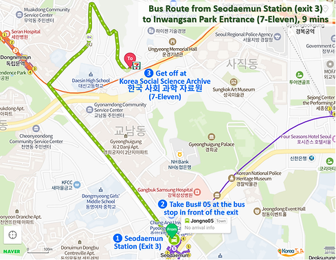 Inwangsan Mountain - Bus Route #05 from Seodaemun Station (exit 3) to Inwangsan Park Entrance (7-Eleven) | KoreaToDo