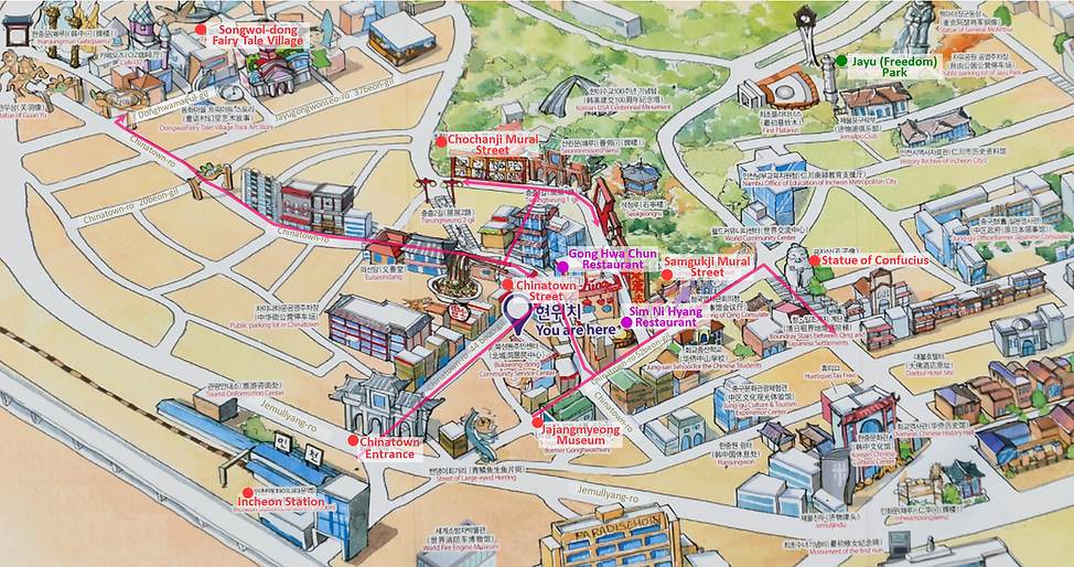Incheon - Tourist walking map of Incheon Chinatown & Songwol-dong Fairy Tale Village | Incheon, South Korea