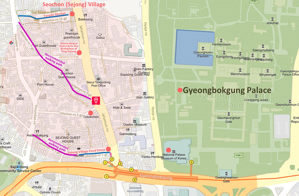 Getting to Seochon (Sejong) Village & Location Map of Top Attractions Nearby | Seoul, South Korea