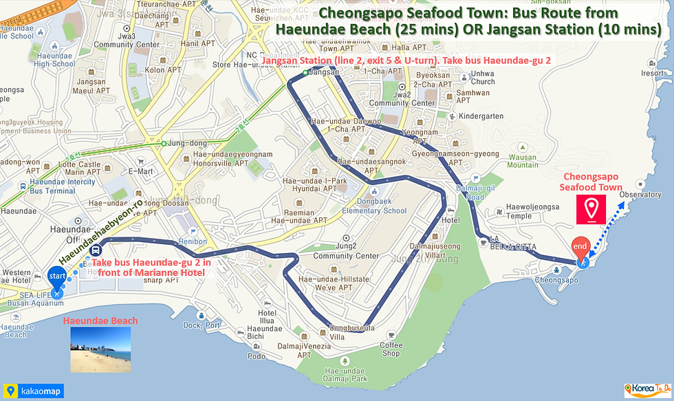 Cheongsapo Seafood Town - Bus Route from Haeundae Beach or Jangsan Station to Cheongsapo | KoreaToDo