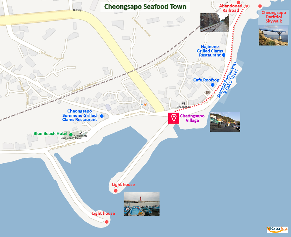 Location Map of Cheongsapo Seafood Town - Popular Cafe, Restaurants & Attraction | Busan, Korea