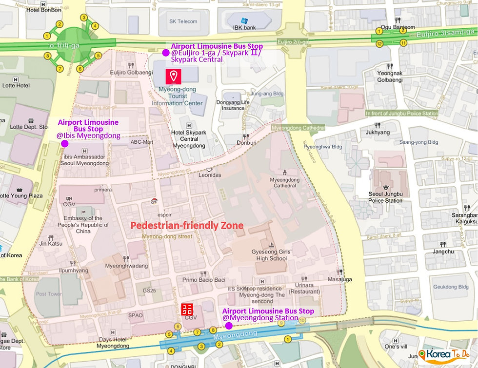 Getting to Myeongdong Tourist Information Center & Location Map of Top Places around | Seoul, Korea