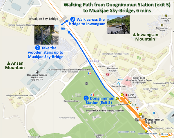 Inwangsan Mountain - Walking Path from Dongnimmun Station (exit 5) to Muakjae Sky-Bridge - Enter from Road | KoreaToDo