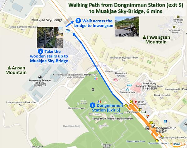 Inwangsan Mountain - Walking Path from Dongnimmun Station (exit 5) to Muakjae Sky-Bridge - Enter from Road | KoreaToDo