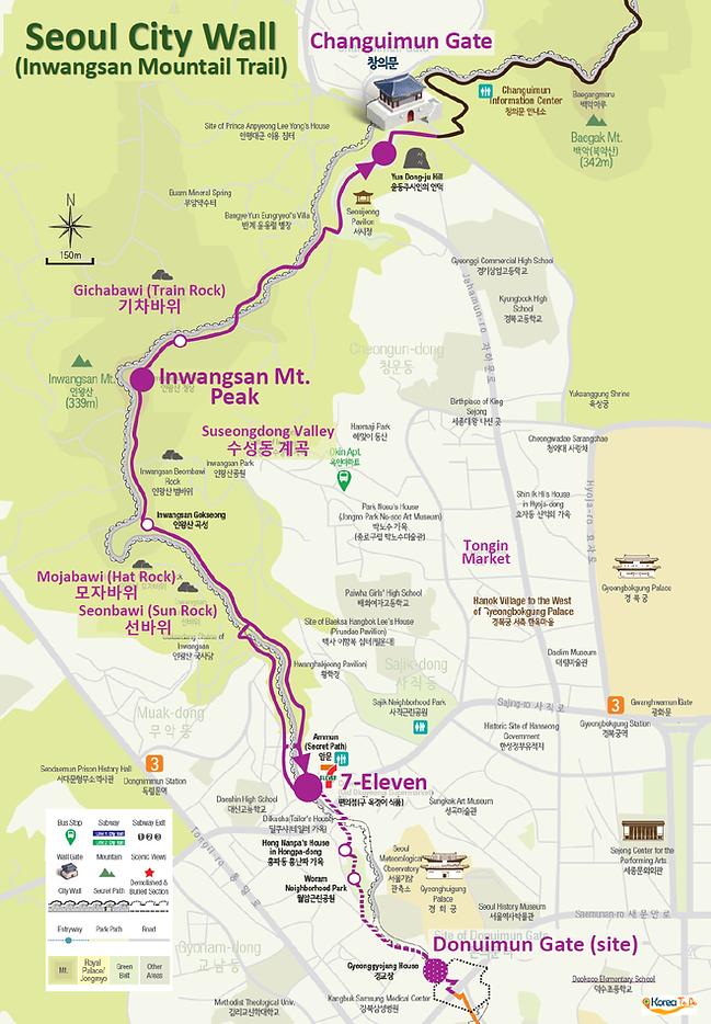 Map of Seoul City Wall (Inwangsan Mountain Trail) | KoreaToDo